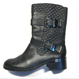 Vince Camuto Welton Black Leather Moto Boot 9.5